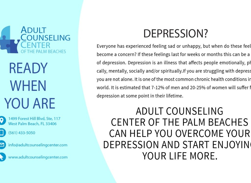 Adult Counseling Center of The Palm Beaches can help you overcome your depression