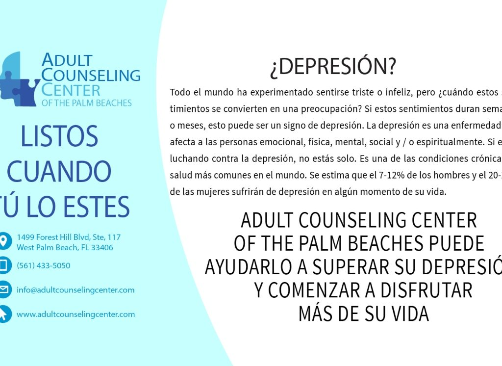 Adult Counseling Center of The Palm Beaches puede ayudarlo a superar su depresión