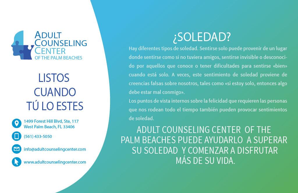 ¿Te sientes solo? En Adult Counseling Center podemos ayudarte