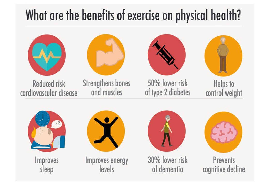 What are the benefits of exercise on physical health?
